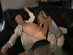 Old man fucks a young naked blonde
