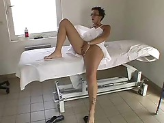 Glasses chick gets massage and a hard fuck