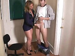 Girl in slutty cop uniform stroking dick