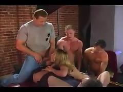 Stripper girl gangbanged in the club