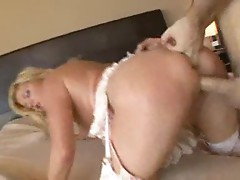 Mature in gorgeous pink lingerie takes big cock