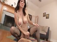 POV with a hot stockings milf