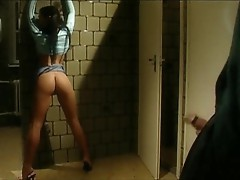Girl shows ass and tits while he masturbates