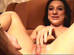Big wooden dildo fucking her cunt