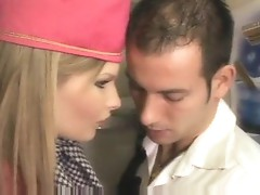 Stewardess gives head and has anal sex