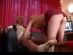 Young blonde fucked by gray-haired guy