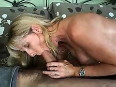 Mature gal sucks and strips before sex