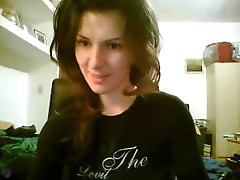 Pretty girl dances a bit on webcam