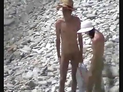 Couple is watched fucking on the beach