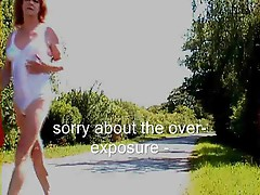 Tgirl walks along the road in her undies