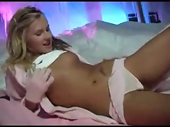 Girl in fuzzy gloves playing with pussy