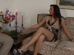 Milf with perky tits and stockings seduces him
