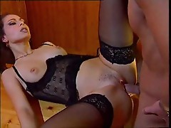 Sexy girl in black lingerie doing cheat hardcore