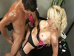 MILF in black stockings gives up her mouth and pussy for dick