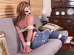 Tightly tied up bitch doesn't know what is in store for her