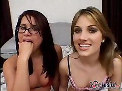 Two lady friends take on a hard cock to do some cum swapping