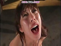 Asian babe is forced to drink cum and fuck and suck hard cock