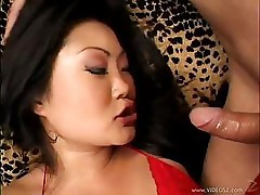 Asian Slut In Red Stockings Rides On Cock