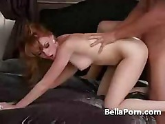 Redhead babe sucks a long hard cock and then fucks it well
