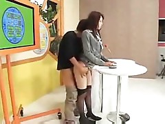 Asian babe isn't too thrilled to be taking on this hard cock at school