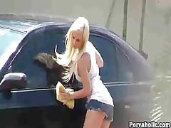 Blonde Cutie Videotaped Washing Car