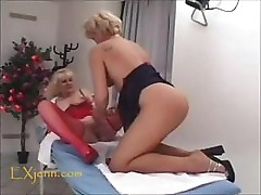 Mature lesbians have a little licking session on wet pussies