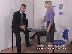 Two blonde babes take on their boss and give him some hot spanking