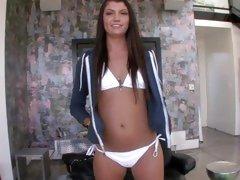 Teen Cassandra Nix looks perfect in a white bikini