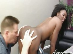 Hot ass Nyomi Banxxx teases a submissive man for one licking action
