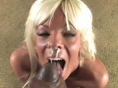 Horny Jordan Blue gets her face covered with dick cream