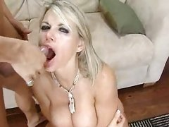 Whore Vicky Vette gets a good mouthful after a great hard fuck.