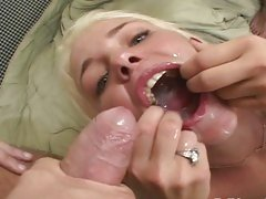 Missy Monroe recieves the cum from 2 horny hot cocks