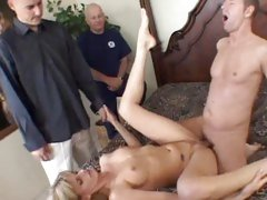 Wild slut Darryl Hanah gets fucked as these dicks watch