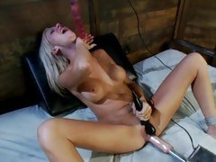 Kaylee Hilton swallows dildo as she is auto fucked