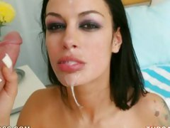 Its Angelina Valentine's day and a shot of jizz in her mouth is her present