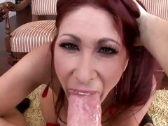 Trashy Tiffany Mynx gasps for breath on this prick