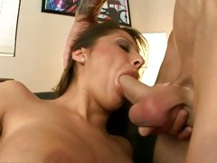 Alison Star gags on this cock as it enters her throat