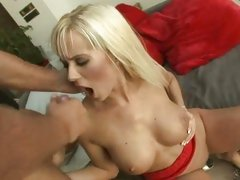 Delicious Cindy Dollar gets covered in cock syrup