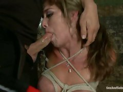 Felony handcuffed to a fence getting her filthy mouth viciously violated