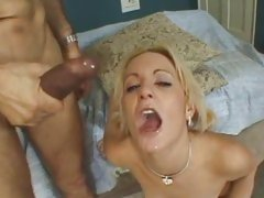 Whore Michelle Sweet gets sprayed with warm jizz