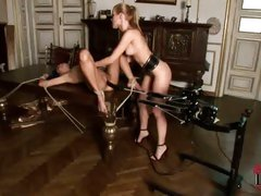 Sophie Moone machine fucks Danika while she lays tied down and helpless