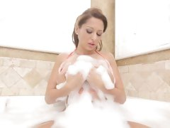 Whore Alison Star gets her big jebbs soaped up