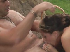 Raunchy whore August spreads her lips round a huge dick