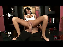 All natural Alison Star's hairless cunt hammered by huge schlong
