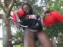 Ebony cheerleader schlong pressed