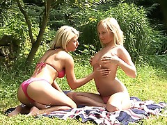 Lesbo sex in the forest