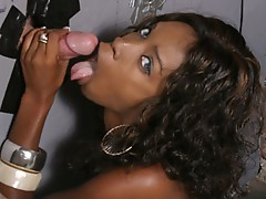 Cute black slut sucking dick