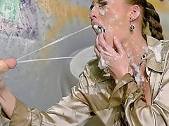 Spray painter receives sprayed