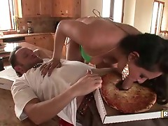 PornStar Charley Chase acquires a taste of this guyr Much loved sauSage topped on her pizza