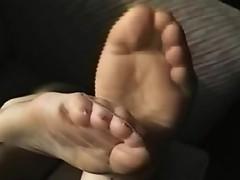 Nylon crossed legs